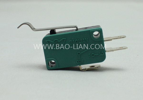 Green Three Terminal Microswitch with lever(Short curve lever)